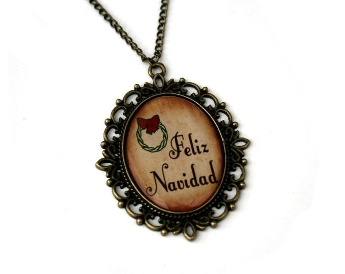 Feliz Navidad, Christmas Song Cameo Necklace, Xmas Illustration, Stocking Stuffer