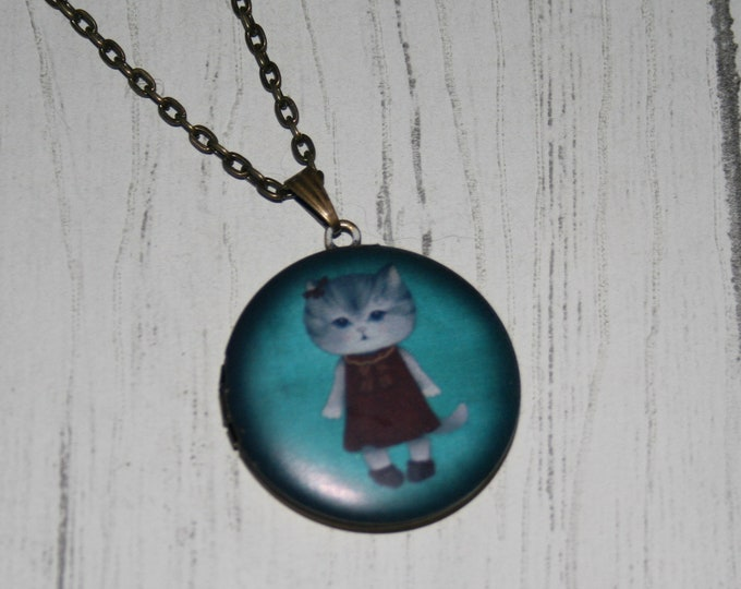 Cat Locket Necklace, Kitten Necklace, Woodland Jewelry