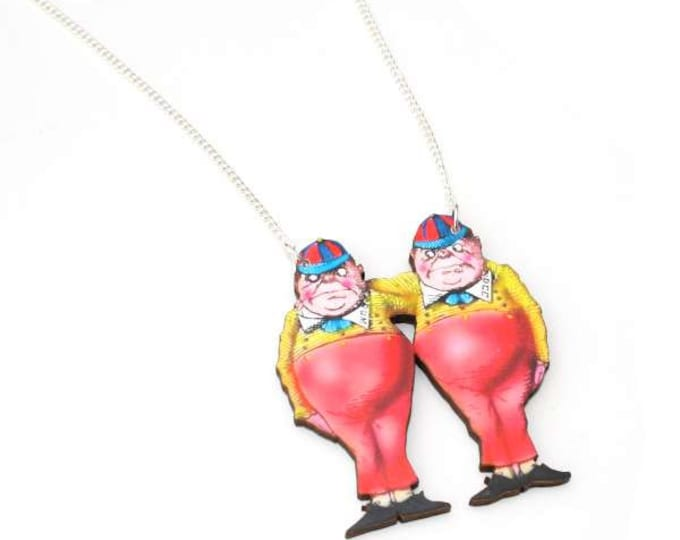 Tweedle Dee & Tweedle Dum Necklace, Alice In Wonderland Necklace, Tenniel Illustration