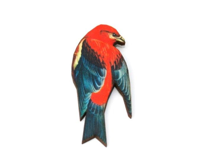 Red Bird Brooch, Wooden Bird Brooch, Bird Illustration, Animal Brooch, Wood Jewelry, Bird Badge, Bird Pin