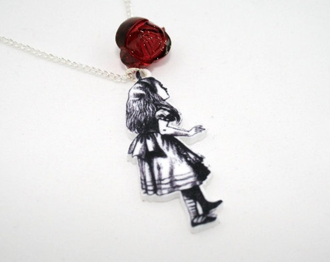 SALE Waking Away Necklace, Tenniel Illustration, Alice In Wonderland
