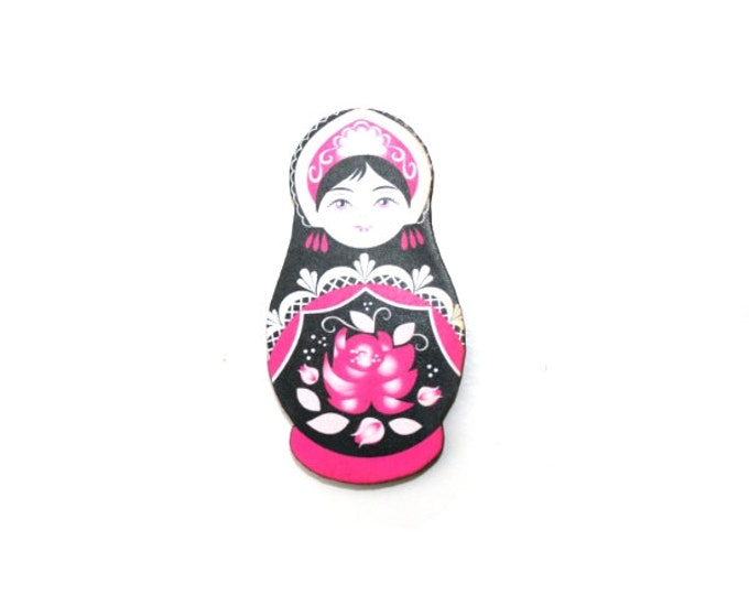 Russian Doll Brooch, Pink and Black Illustration, Wood Jewelry, Matryoshka Brooch