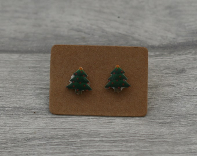 Christmas Tree Earrings, Teeny Tiny Earrings, Tree Jewelry, Cute Earrings
