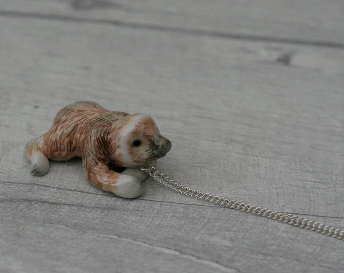 Porcelain Sloth Necklace, Animal Necklace
