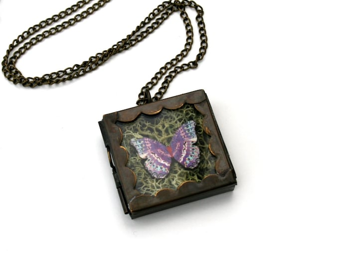 Purple Butterfly Necklace, Butterfly Shadow Box Necklace, Wood Pendant, Illustration Jewelry, Woodland, Animal Necklace, Terrarium Necklace