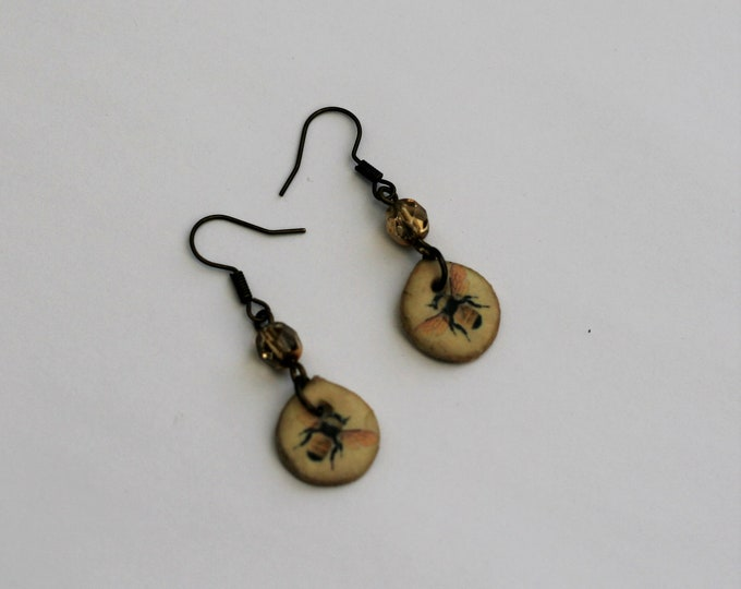 Yellow Bee Statement Earrings, Animal Jewelry