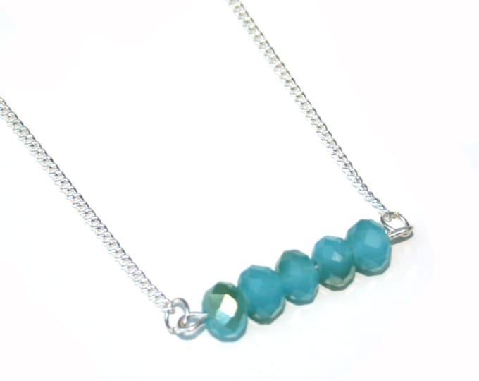Turquoise Beaded Bar Necklace, Faceted Glass, Crystal Bar Necklace, Statement Necklace