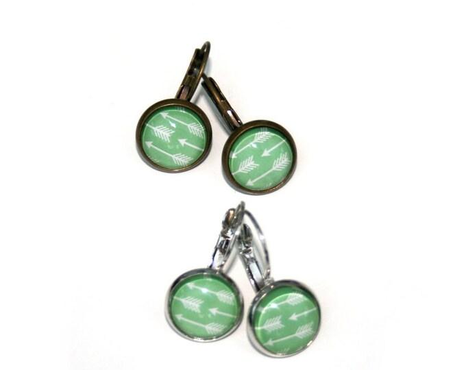 Green Arrow Earrings, Mint Green Dangle Earrings