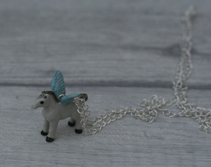 Porcelain Pegasus Necklace, Winged Horse Necklace, Animal Necklace