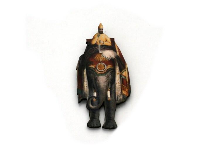 Elephant Brooch, Vintage Illustration, Wood Jewelry, Animal Brooch