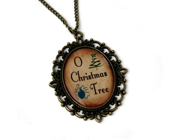 O Christmas Tree, Christmas Song Cameo Necklace, Xmas Illustration, Stocking Stuffer