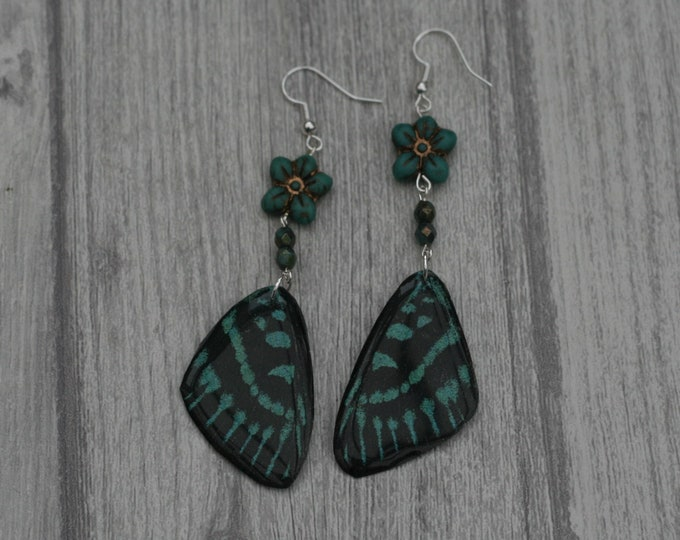 Green Butterfly Earrings, Butterfly Illustration, Dangle Earrings