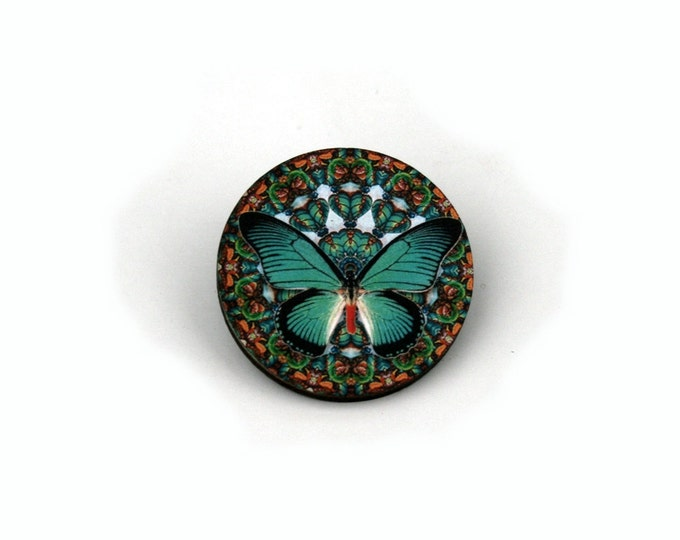 Round Butterfly Badge, Teal Butterfly Brooch, Wood Accessory, Illustration Jewelry, Animal Brooch, Woodland, Wood Jewelry