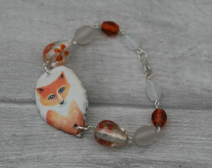 Orange Fox Bracelet, Fox Bracelet, Fox Bar Bracelet