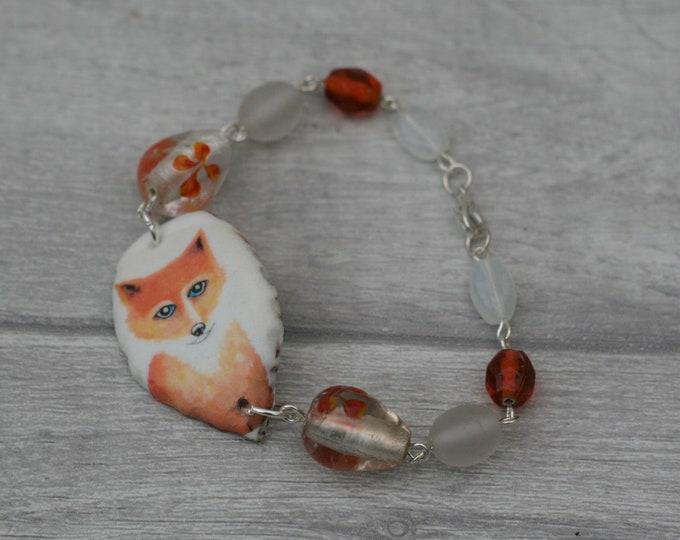 Orange Fox Bracelet, Fox Bracelet, Fox Bar Bracelet