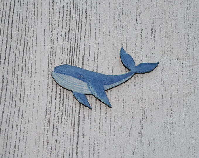 Blue Whale Brooch, Wooden Whale Badge, Fish Illustration, Animal Brooch, Wood Jewelry