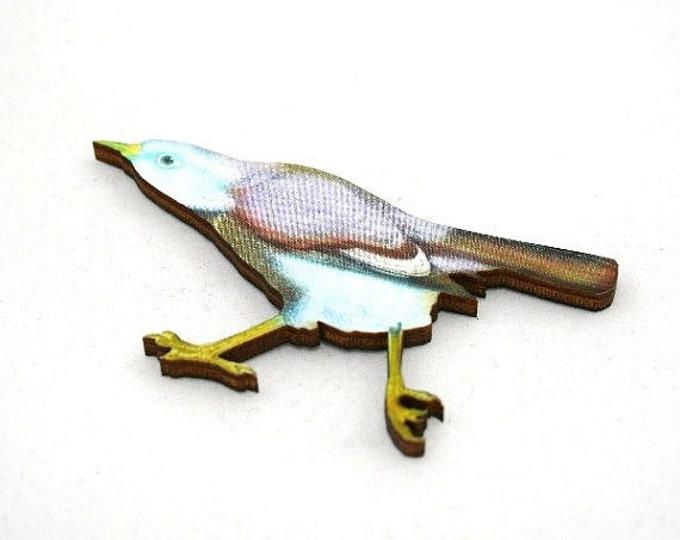 Pale Blue Bird Brooch, Wooden Bird Brooch, Bird Illustration, Woodland, Wood Jewelry