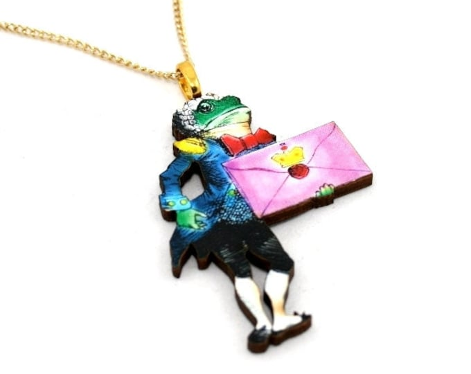 SALE - Frog Footman Alice In Wonderland Necklace Tenniel Illustration, Wood Jewelry