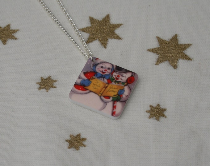 Snowman Necklace, Snowman Illustration Necklace
