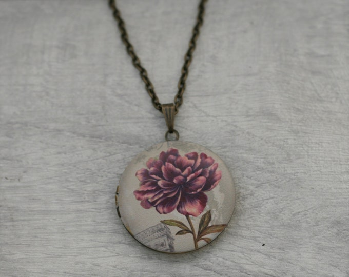 Flower Locket Necklace, Floral Necklace