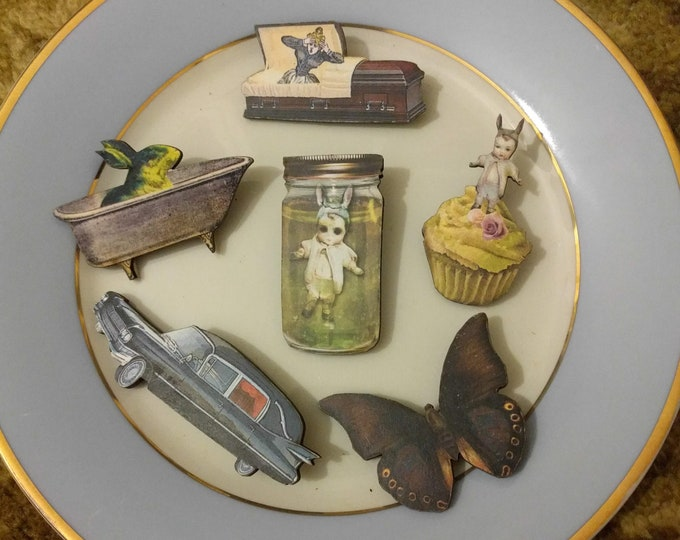 6 x Wooden Brooches - Butterfly, Hearse, Car, Cake, Coffin, Bunny