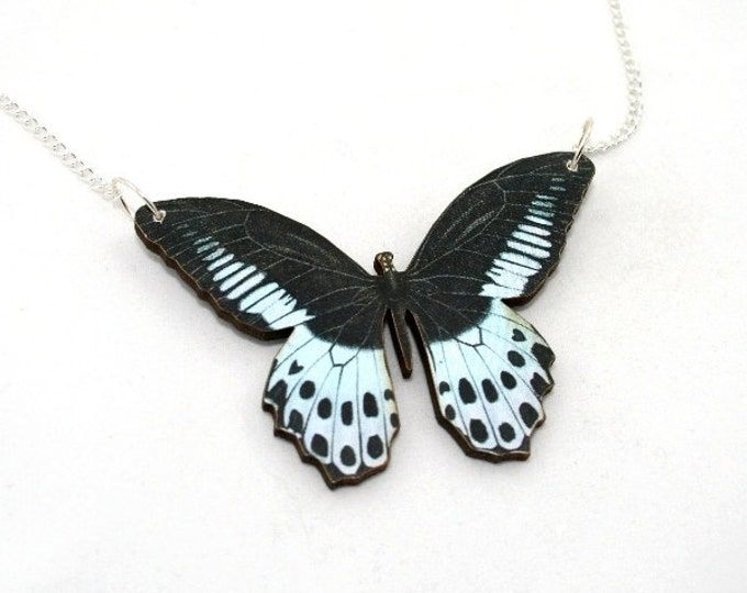 Black & Blue Butterfly Necklace, Wood Pendant, Illustration Jewelry, Woodland, Animal Necklace, Wood Jewelry