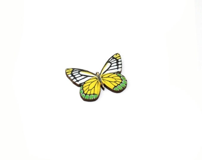 Yellow Butterfly Brooch, Wood Accessory, Badge Illustration Jewelry, Animal Brooch, Woodland, Wood Jewelry