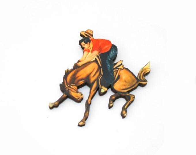 Cowboy Brooch, Wooden Pony Brooch, Horse Illustration, Animal Brooch, Wood Jewelry