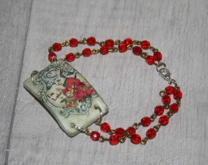 Red White Rabbit Bracelet, I'm Late, Alice in Wonderland Jewelry