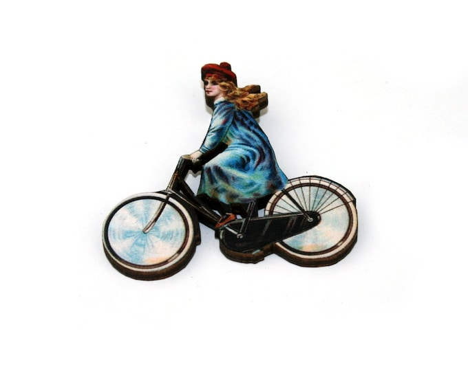 Bicycle Brooch, Wooden Bike Brooch, Vintage Bike Illustration
