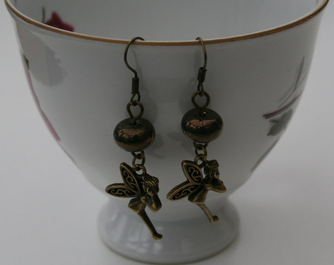 Bronze Lampwork Bead and Fairy Earrings, Fairy Dangle Earrings