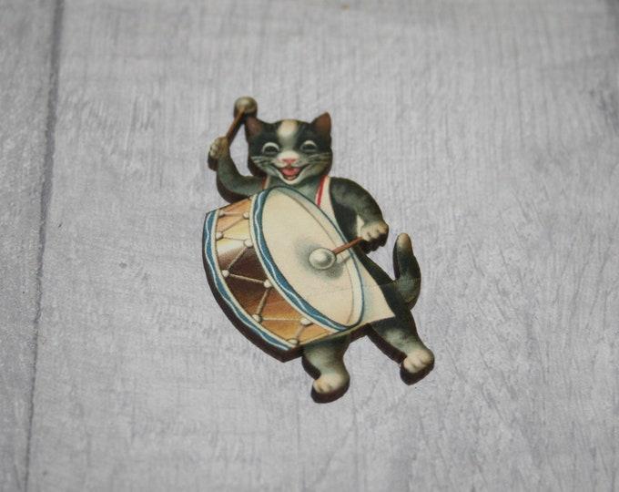 Kitten Brooch, Wooden Cat Badge, Animal Brooch, Wood Jewelry, Kitten Pin