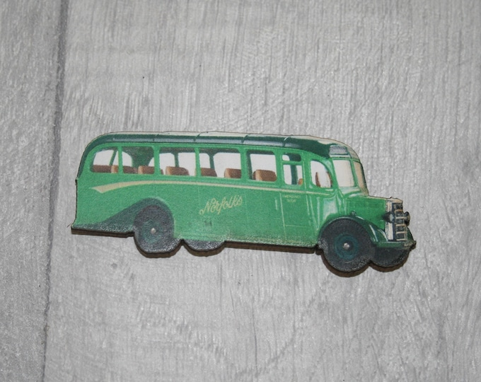 Vintage Green Bus Brooch, Wooden Coach Brooch, Bus Badge, Wood Jewelry