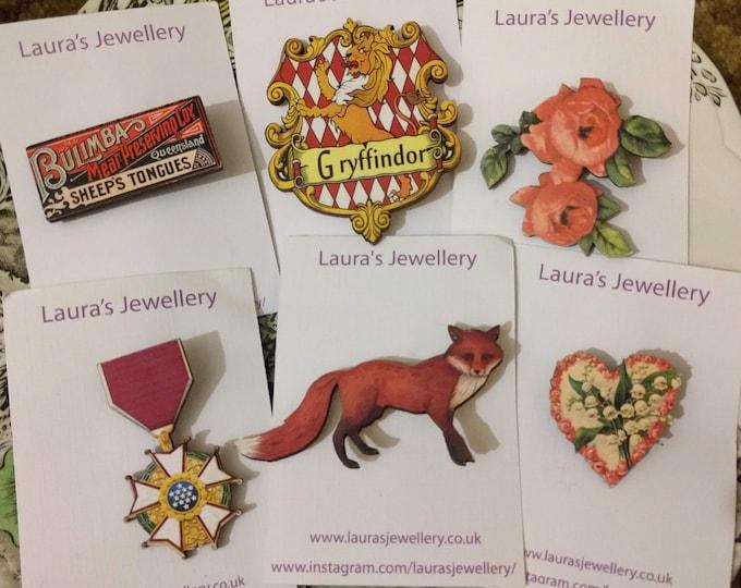 6 x Wooden Brooches - Heart, Fox, Medal, Flower