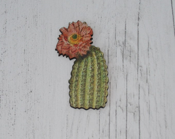 Cactus Brooch, Wooden Brooch, Plant Illustration, Wood Jewelry
