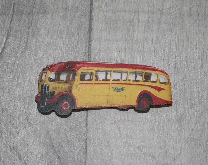 Vintage Yellow Bus Brooch, Wooden Coach Brooch, Bus Badge, Wood Jewelry