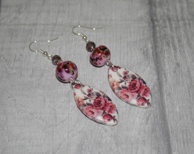 Pink Flower Statement Earrings, Floral Jewelry