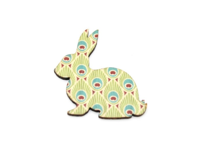 Rabbit Brooch, Easter Bunny, Feather Illustration, Wood Jewelry, Animal Brooch