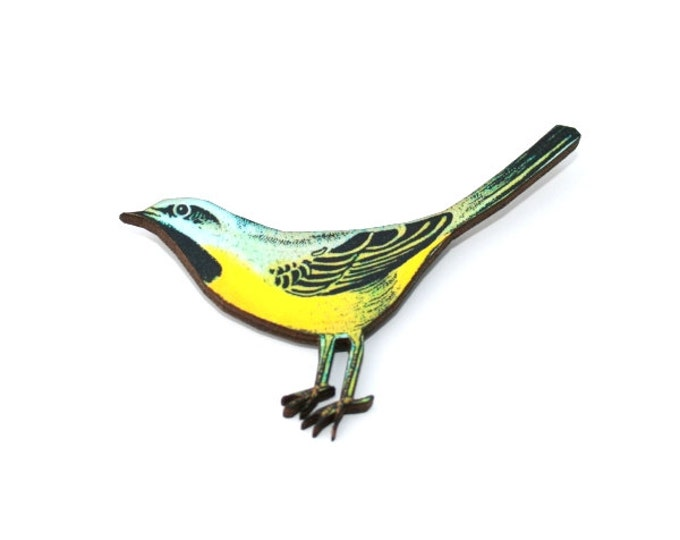 Yellow Bird Brooch, Wooden Bird Brooch, Bird Illustration, Animal Brooch, Wood Jewelry