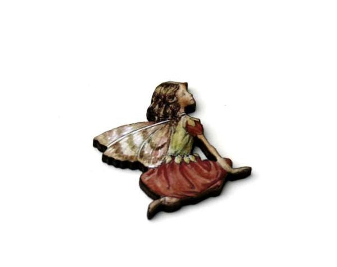 Red Fairy Brooch, Faerie Illustration Brooch, Pixie Jewelry, Wood Brooch, Wood Jewelry