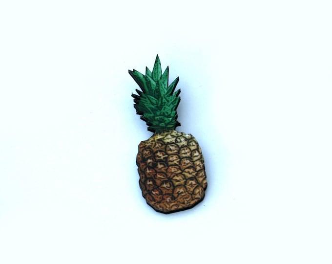 Pineapple Brooch, Wooden Brooch, Fruit Illustration, Wood Jewelry