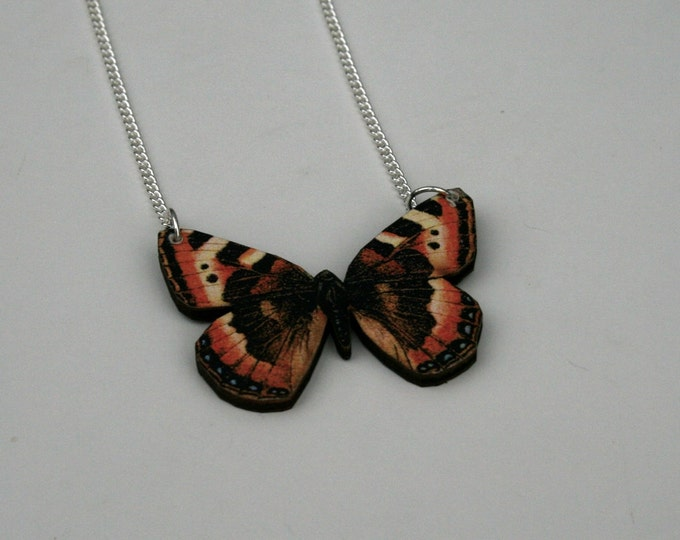 Black & Orange Butterfly Necklace, Wood Pendant, Illustration Jewelry, Woodland, Animal Necklace, Wood Jewelry