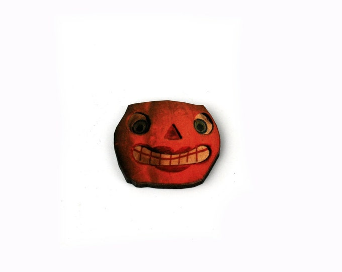 Halloween Brooch, Jack O Lantern, Pumpkin Brooch, Thanksgiving, Halloween Badge