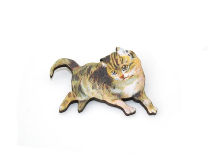Cat Brooch, Wooden Kitten Brooch, Cat Illustration, Animal Brooch