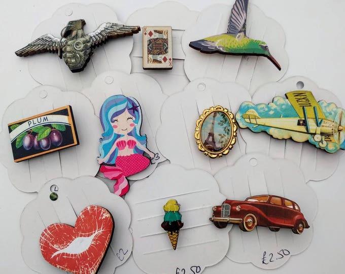 10 x Wooden Brooches - Bird, Mermaid, Car, Ice Cream (SET 11)