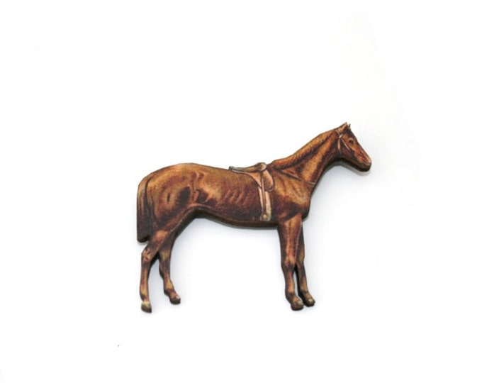 Horse Brooch, Wooden Pony Brooch, Horse Illustration, Animal Brooch, Wood Jewelry