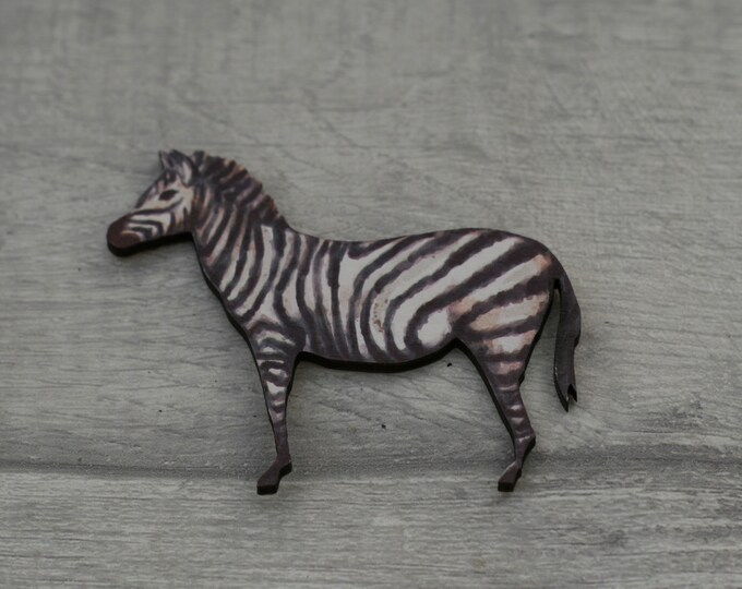 Zebra Brooch, Wooden Zebra Badge, Animal Brooch, Wood Jewelry, Striped Horse Brooch
