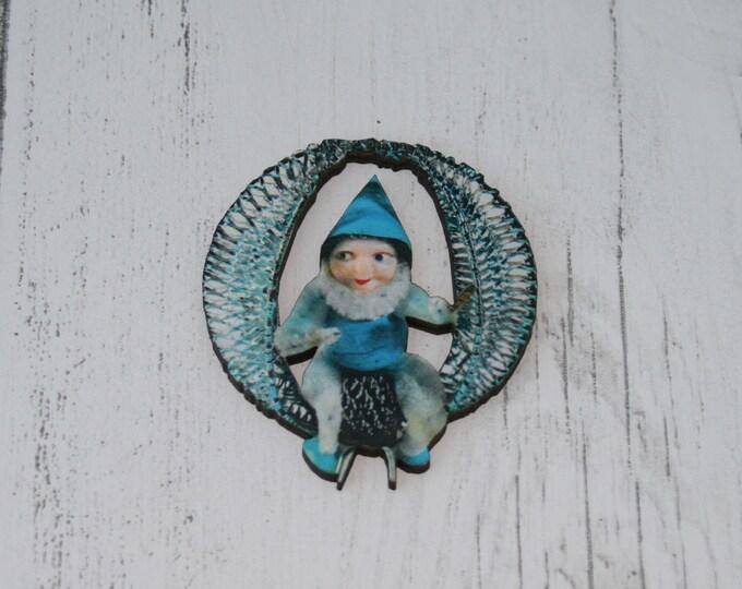 Kitsch Christmas Brooch, Angel Illustration, Wood Jewelry, Christmas Brooch, Wood Jewelry