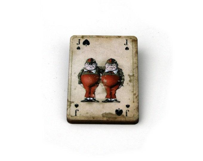 Tweedle Dee Tweedle Dum Brooch, Alice in Wonderland Brooch, Tenniel Illustration