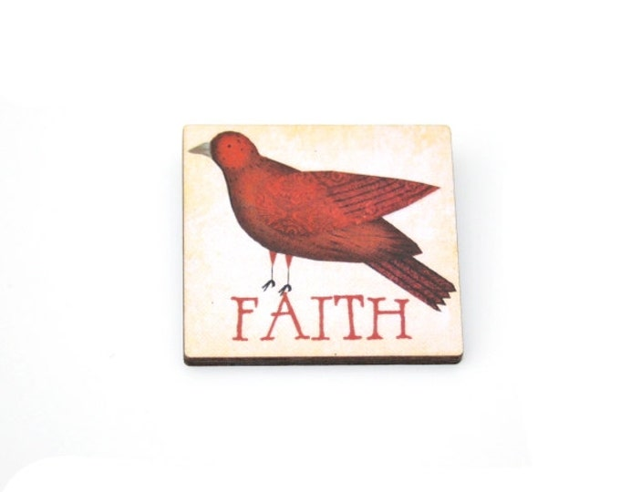 Faith Brooch, Wooden Dove Brooch, Bird Illustration, Animal Brooch, Wood Jewelry